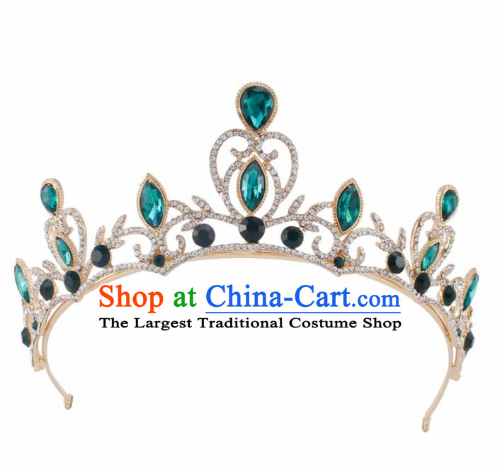 Baroque Wind Hair Accessories Princess Retro Green Crystal Golden Royal Crown for Women