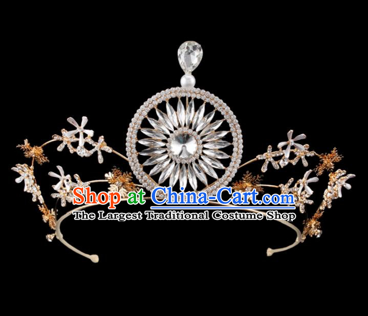 Baroque Wind Hair Accessories Bride Retro Crystal Golden Royal Crown for Women