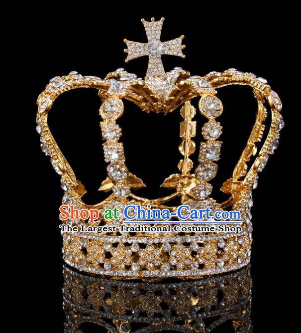 Baroque Wind Hair Accessories Bride Retro Rhinestone Golden Royal Crown for Women