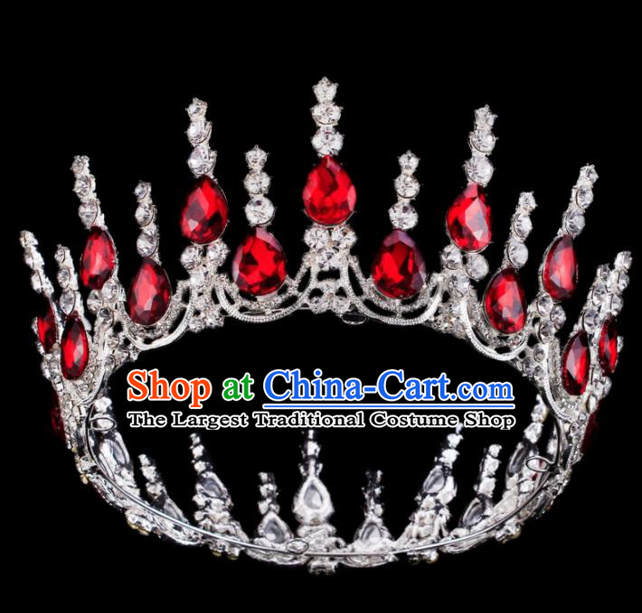Baroque Wind Retro Hair Accessories Bride Red Rhinestone Round Royal Crown for Women