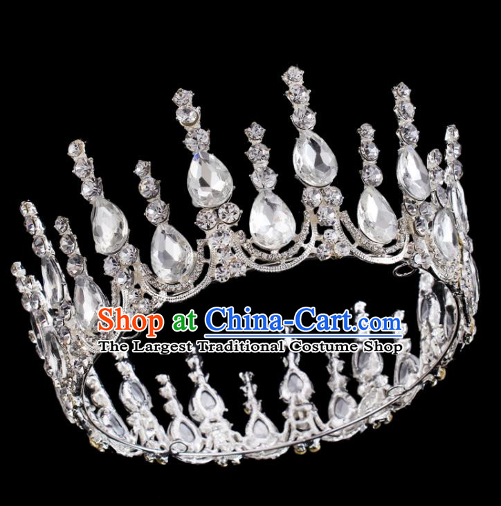 Baroque Wind Retro Hair Accessories Bride Rhinestone Round Royal Crown for Women