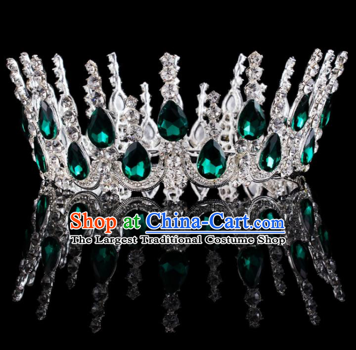 Baroque Wind Retro Hair Accessories Bride Green Rhinestone Round Royal Crown for Women