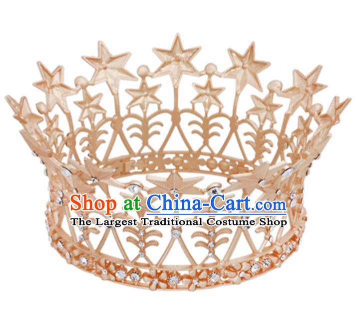 Baroque Wind Retro Hair Accessories Bride Round Golden Royal Crown for Women