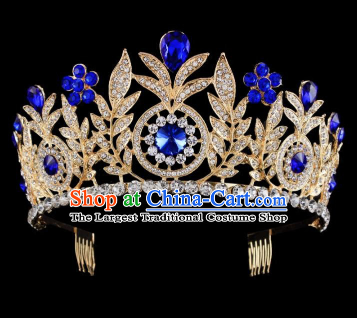 Top Grade Baroque Wind Retro Hair Accessories Bride Crystal Golden Royal Crown for Women