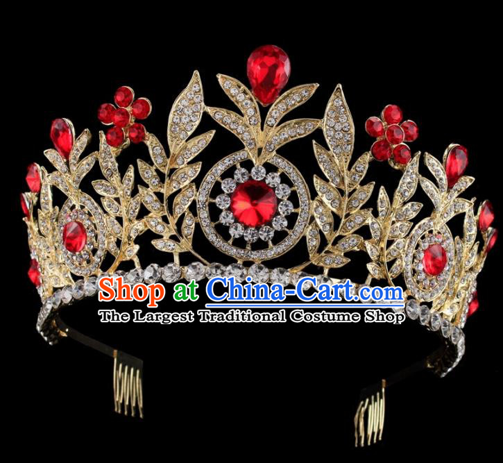Top Grade Baroque Wind Retro Hair Accessories Bride Red Crystal Golden Royal Crown for Women