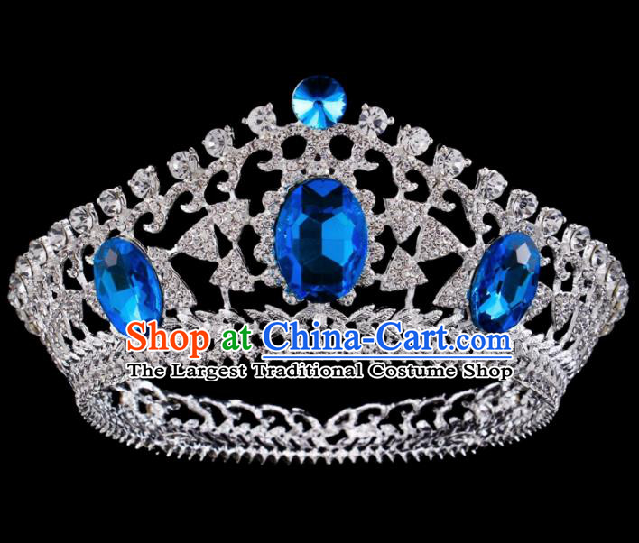 Top Grade Baroque Bride Retro Hair Accessories Princess Blue Crystal Round Royal Crown for Women