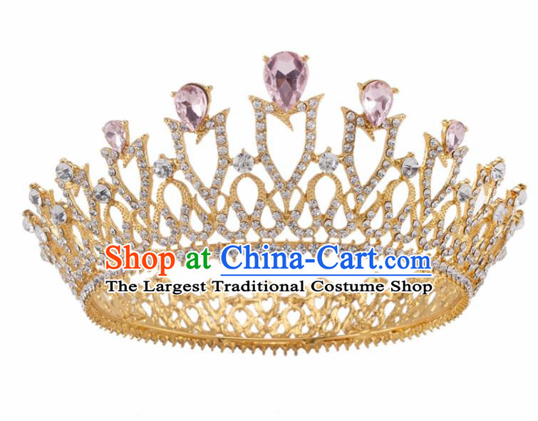 Top Grade Baroque Retro Wedding Hair Accessories Bride Pink Crystal Golden Royal Crown for Women