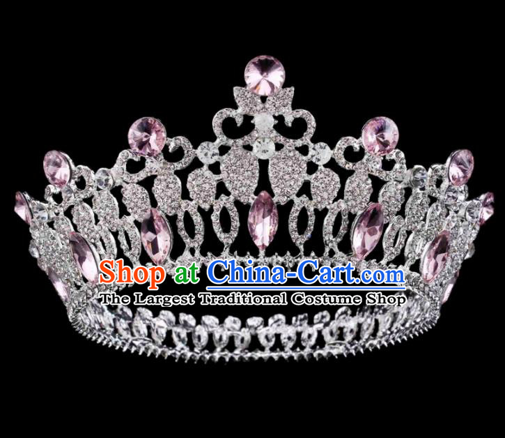Baroque Wind Hair Accessories Bride Retro Pink Rhinestone Royal Crown for Women