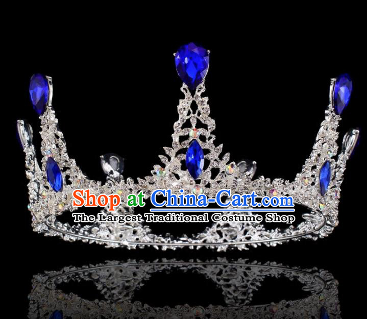 Top Grade Baroque Retro Round Royal Crown Bride Blue Crystal Wedding Hair Accessories for Women