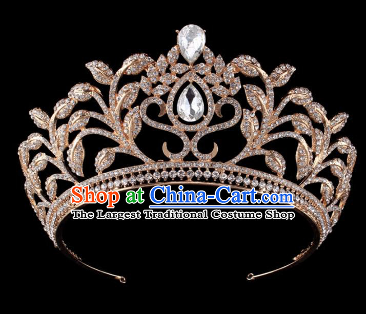 Top Grade Baroque Retro Golden Royal Crown Bride Crystal Wedding Hair Accessories for Women