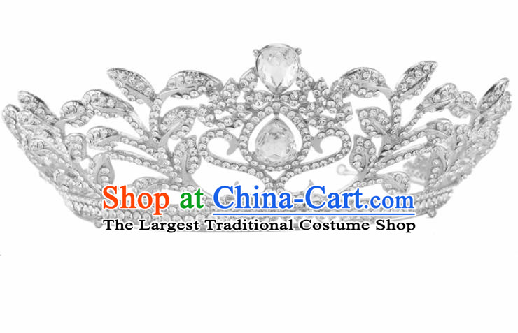 Top Grade Baroque Retro Royal Crown Bride Crystal Wedding Hair Accessories for Women