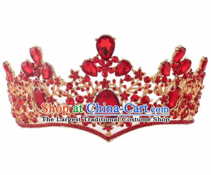 Top Grade Baroque Princess Retro Red Crystal Royal Crown Bride Wedding Hair Accessories for Women