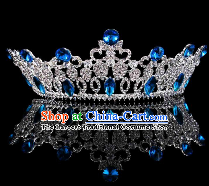 Baroque Wind Hair Accessories Bride Retro Blue Rhinestone Royal Crown for Women