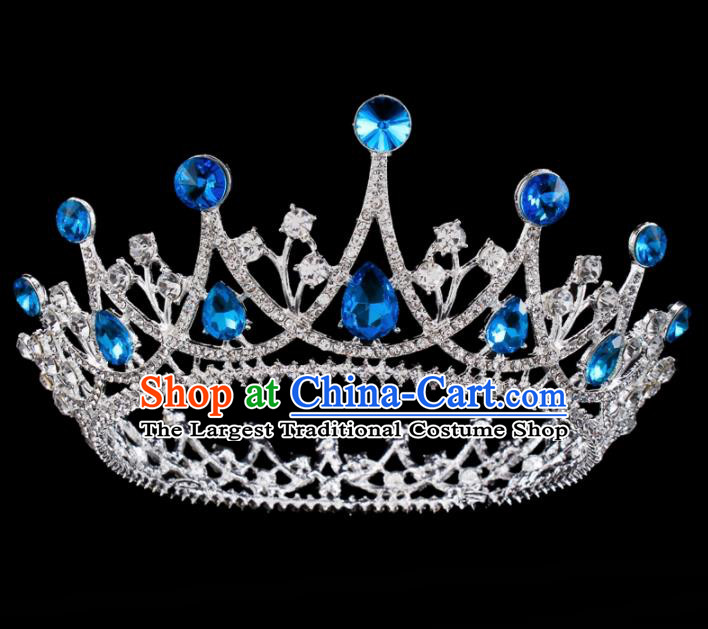 Baroque Wind Hair Accessories Bride Retro Blue Rhinestone Round Royal Crown for Women