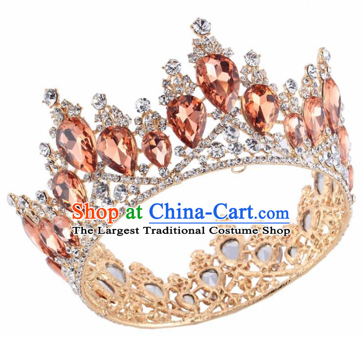 Top Grade Baroque Princess Retro Golden Round Royal Crown Bride Orange Crystal Wedding Hair Accessories for Women