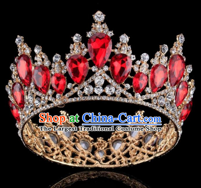 Top Grade Baroque Princess Retro Golden Round Royal Crown Bride Red Crystal Wedding Hair Accessories for Women