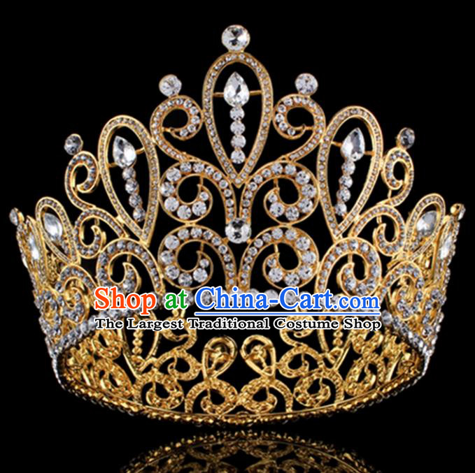 Top Grade Baroque Princess Golden Royal Crown Bride Crystal Retro Wedding Hair Accessories for Women