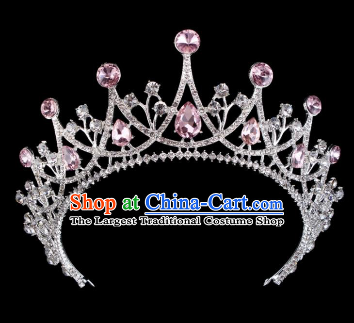 Baroque Wind Retro Hair Accessories Bride Pink Rhinestone Round Royal Crown for Women