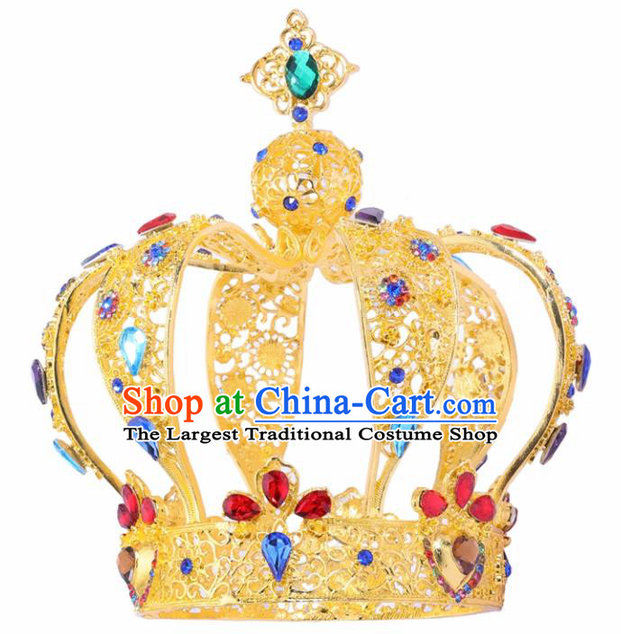 Top Grade Baroque Queen Golden Royal Crown Bride Crystal Retro Wedding Hair Accessories for Women