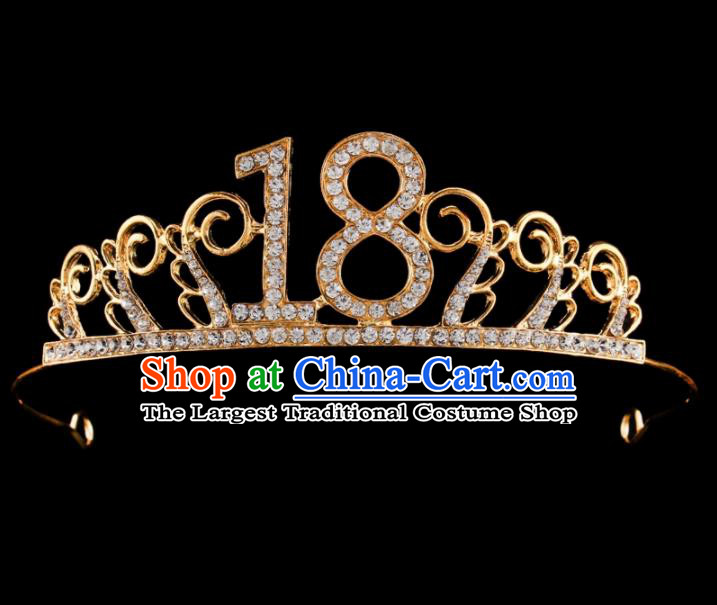 Baroque Wind Retro Hair Accessories Bride Rhinestone Royal Crown Golden Hair Clasp for Women