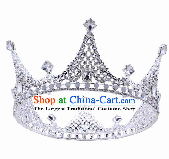 Top Grade Baroque Crystal Round Royal Crown Bride Retro Wedding Hair Accessories for Women