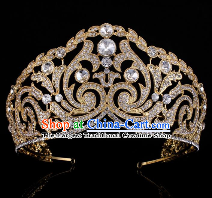 Top Grade Baroque Golden Crystal Royal Crown Bride Retro Wedding Hair Accessories for Women