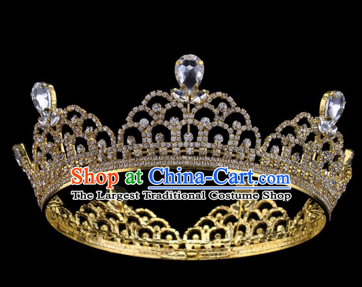 Top Grade Baroque Style Golden Round Royal Crown Bride Retro Wedding Hair Accessories for Women