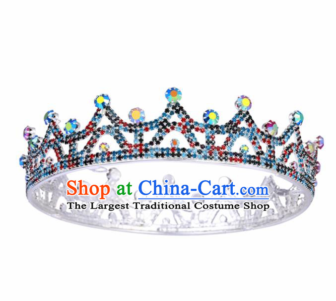 Top Grade Baroque Style Colorful Argent Round Royal Crown Bride Retro Wedding Hair Accessories for Women