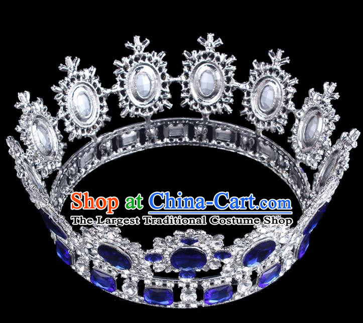Top Grade Baroque Style Blue Rhinestone Royal Crown Bride Retro Wedding Hair Accessories for Women