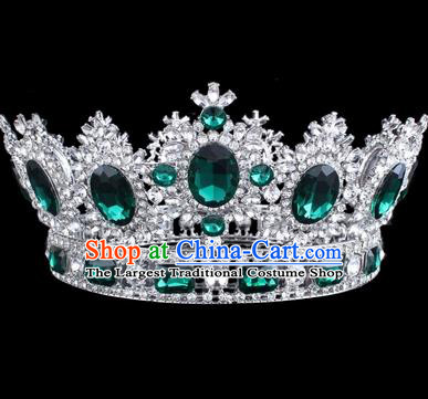 Top Grade Baroque Style Green Rhinestone Royal Crown Bride Retro Wedding Hair Accessories for Women