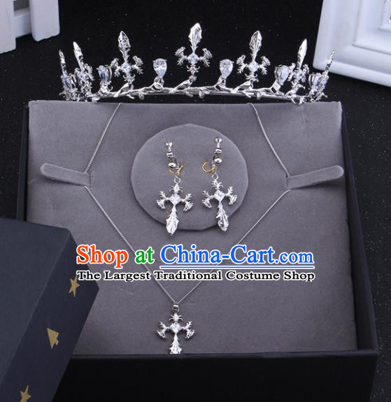 Top Grade Baroque Style Bride Jewelry Accessories Crystal Royal Crown Necklace and Earrings for Women