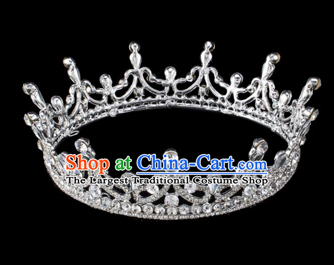 Top Grade Baroque Style Handmade Royal Crown Bride Retro Wedding Hair Accessories for Women