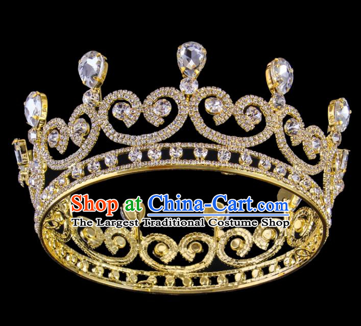 Top Grade Baroque Style Handmade Princess Golden Royal Crown Bride Retro Wedding Hair Accessories for Women