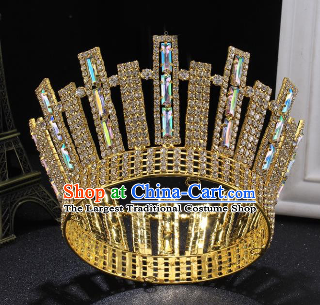 Top Grade Handmade Wedding Crystal Golden Round Royal Crown Baroque Retro Hair Accessories for Women