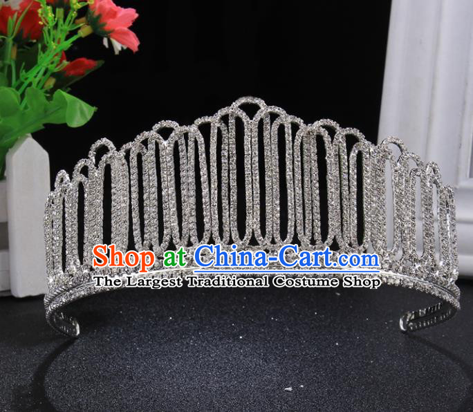 Top Grade Wedding Crystal Royal Crown Baroque Retro Handmade Hair Accessories for Women
