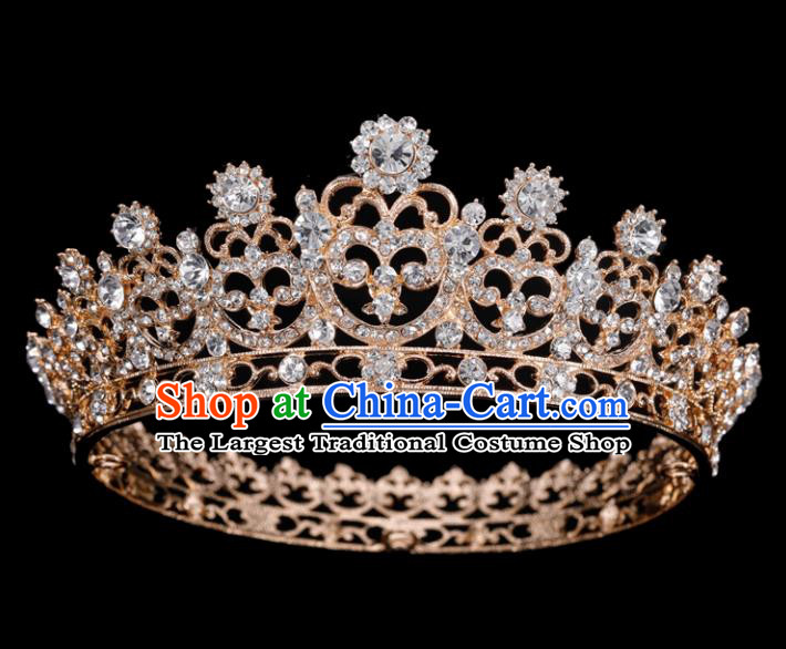 Top Grade Wedding Crystal Golden Round Royal Crown Baroque Retro Handmade Hair Accessories for Women