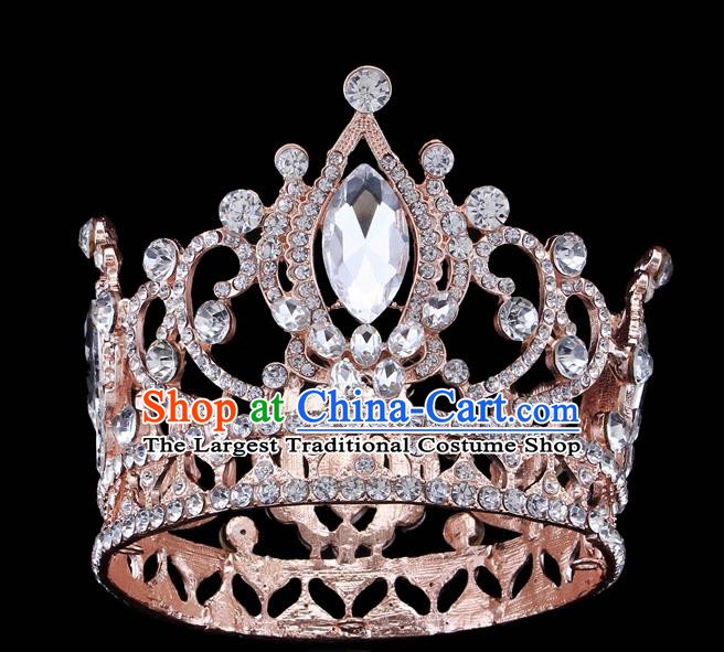 Handmade Wedding Queen Pink Crystal Royal Crown Baroque Retro Hair Accessories for Women