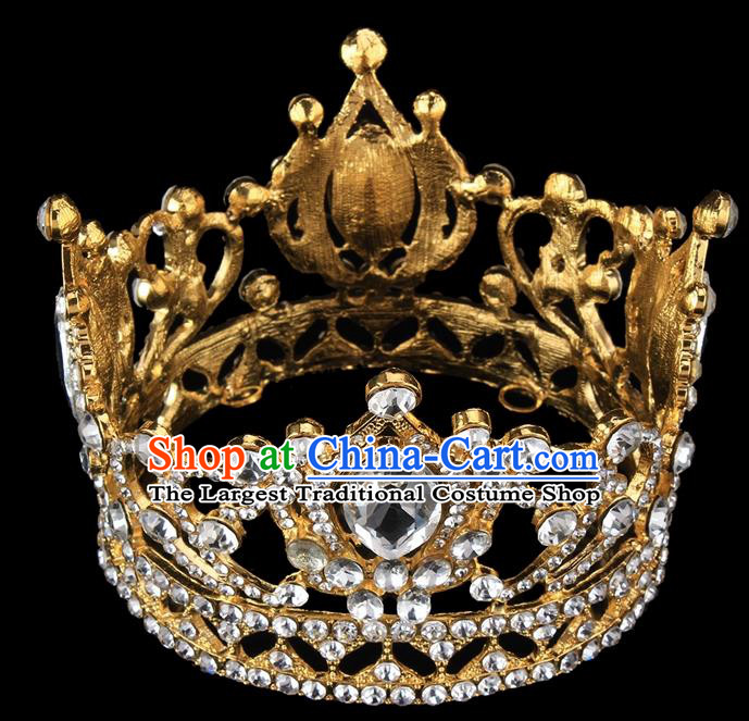 Handmade Wedding Queen Round Crystal Royal Crown Baroque Retro Hair Accessories for Women