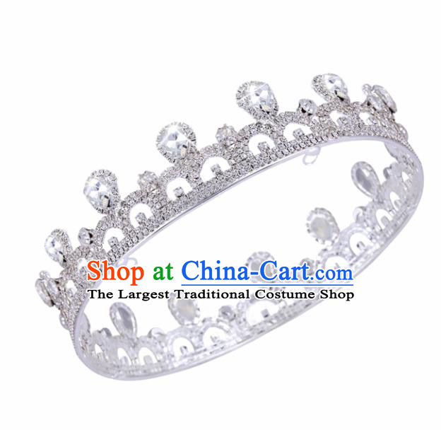 Handmade Wedding Bride Hair Accessories Baroque Princess Retro Crystal Round Royal Crown for Women