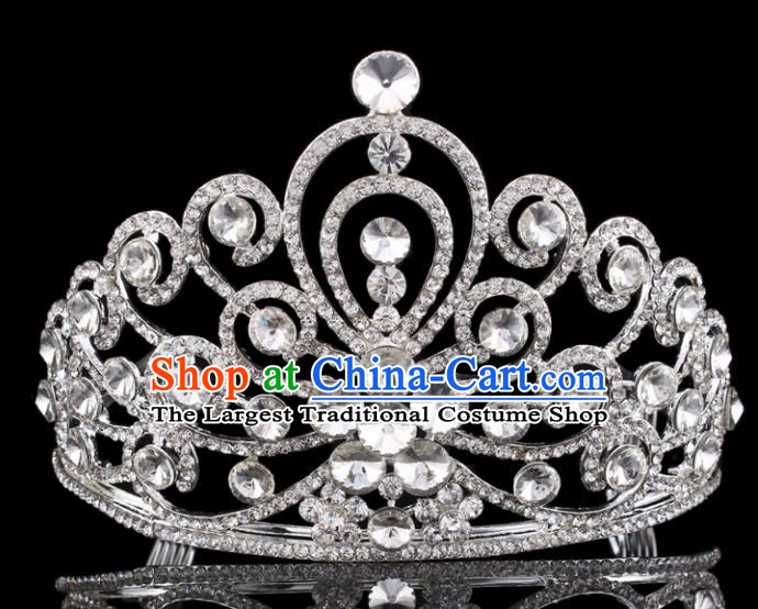 Handmade Wedding Bride Hair Accessories Baroque Princess Retro Rhinestone Royal Crown for Women