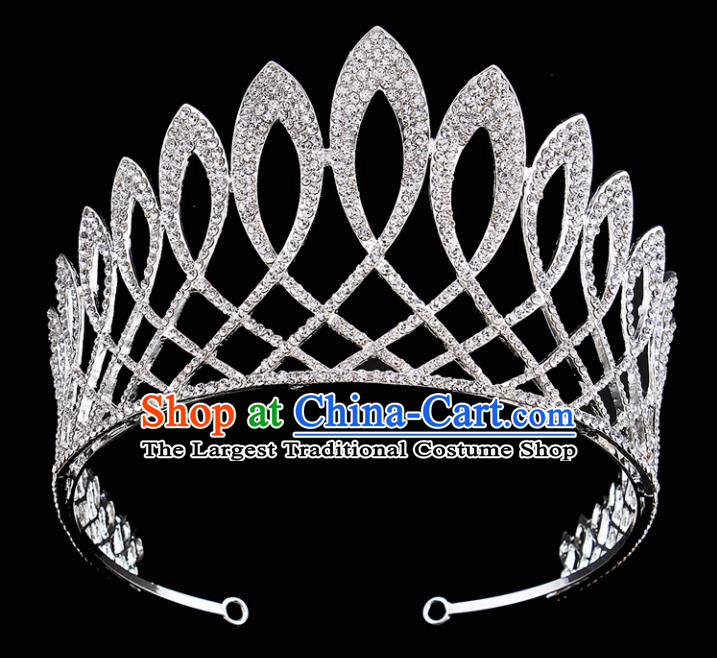 Handmade Wedding Bride Hair Accessories Baroque Queen Retro Rhinestone Royal Crown for Women