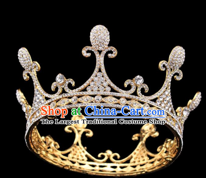 Handmade Wedding Bride Rhinestone Hair Accessories Baroque Queen Retro Golden Royal Crown for Women