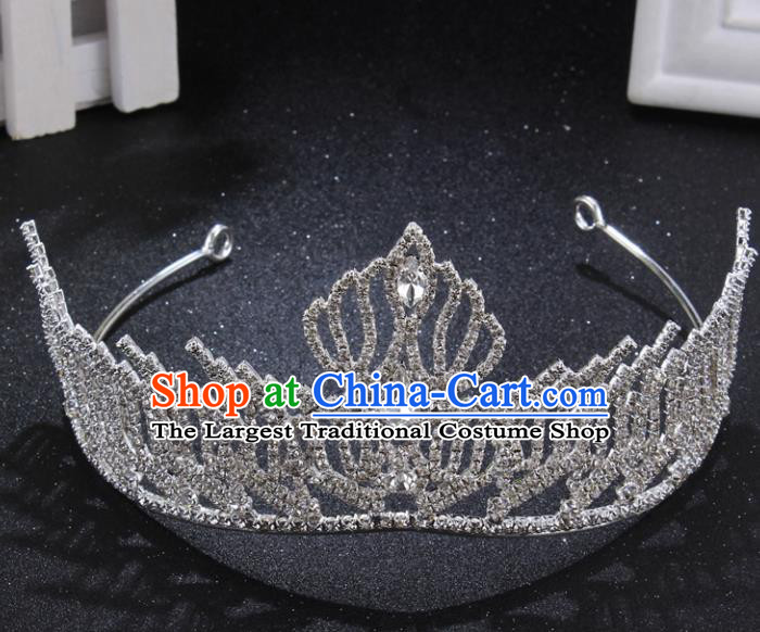 Handmade Wedding Bride Rhinestone Hair Accessories Baroque Queen Retro Royal Crown for Women