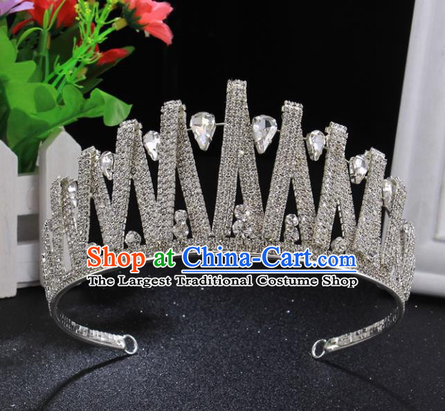 Handmade Wedding Bride Rhinestone Hair Accessories Baroque Princess Retro Crystal Royal Crown for Women