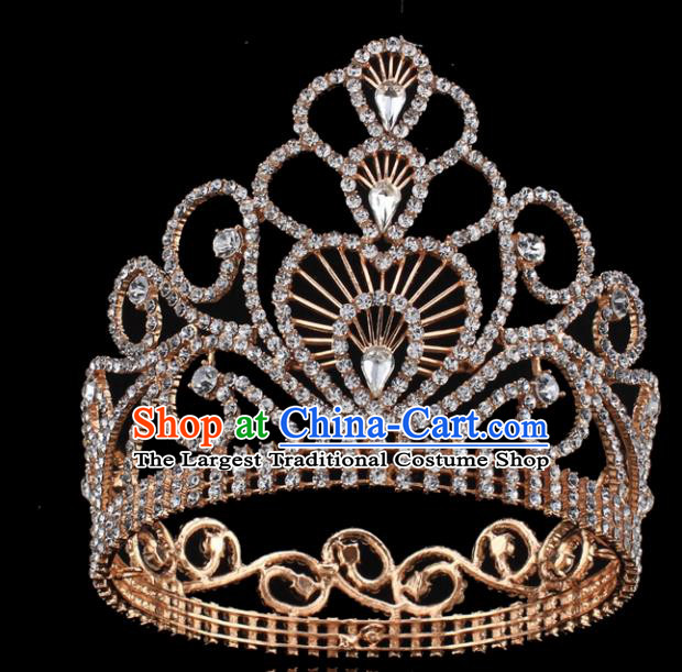 Top Grade Wedding Bride Rhinestone Hair Accessories Baroque Princess Retro Golden Crystal Royal Crown for Women