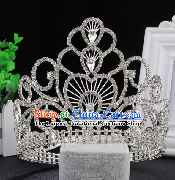 Top Grade Wedding Bride Rhinestone Hair Accessories Baroque Princess Retro Crystal Royal Crown for Women