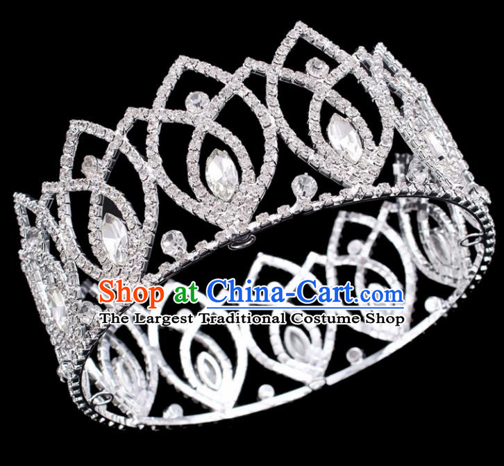 Top Grade Baroque Handmade Crystal Royal Crown Bride Retro Wedding Hair Accessories for Women
