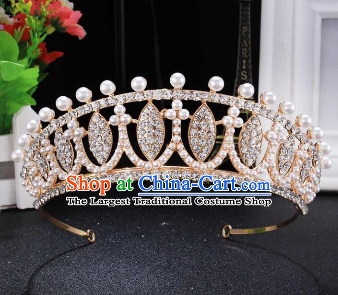 Top Grade Wedding Bride Hair Accessories Baroque Princess Pearls Retro Golden Royal Crown for Women