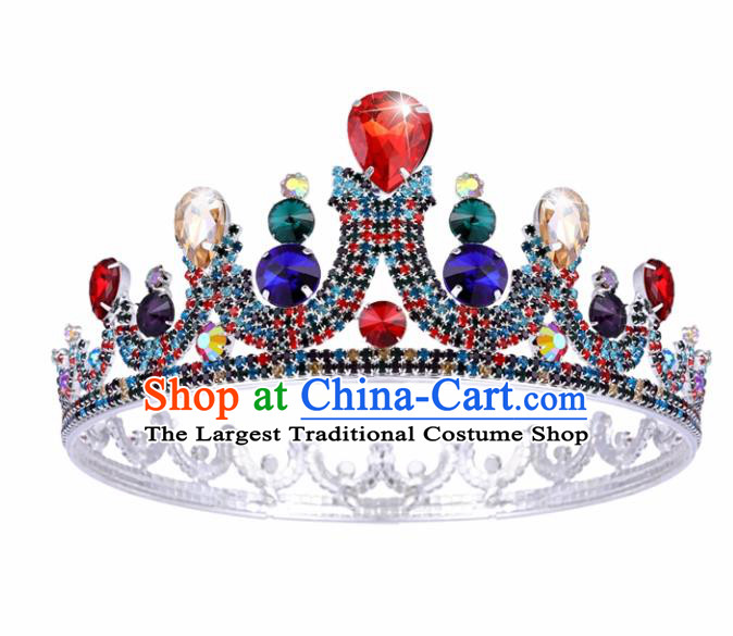 Top Grade Baroque Handmade Colorful Crystal Royal Crown Bride Retro Wedding Hair Accessories for Women