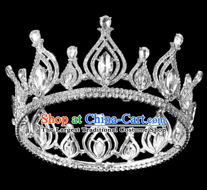 Top Grade Crystal Royal Crown Baroque Princess Retro Wedding Bride Hair Accessories for Women